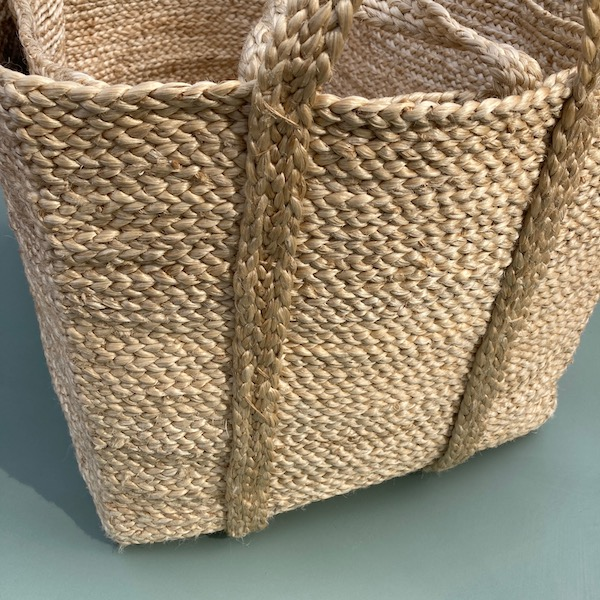 Jute Storage Basket Set rectangle - Natural. Set of 2