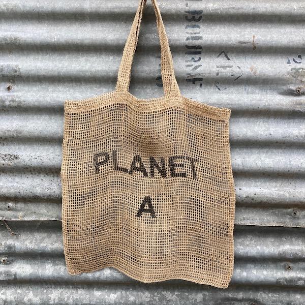 Handmade Jute Net Shopping Bag 'Planet A'