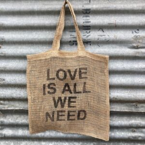 Handmade Jute Net Shopping Bag 'Love Is All We Need