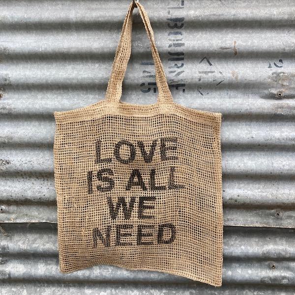 Handmade Jute Net Shopping Bag 'Love Is All We Need