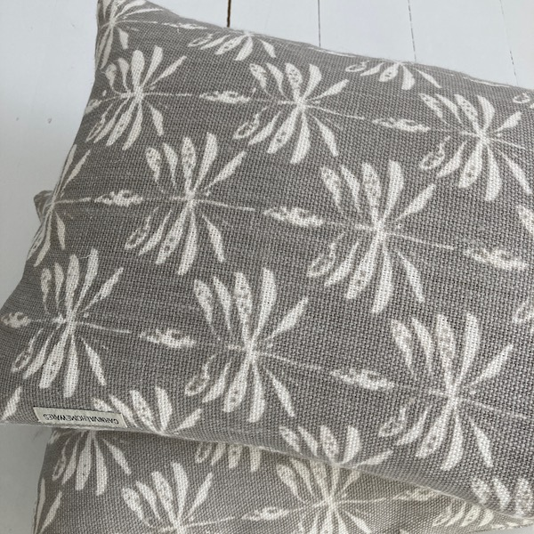 Cushion Cover Linen Date Palm - Cool Grey