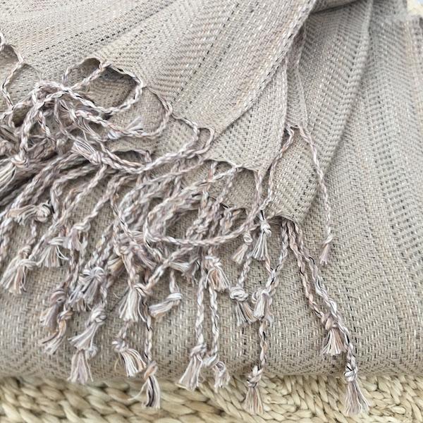 Throw Linen/cotton light grey
