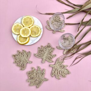 Handmade Jute Natural Palm Coaster Set of 6