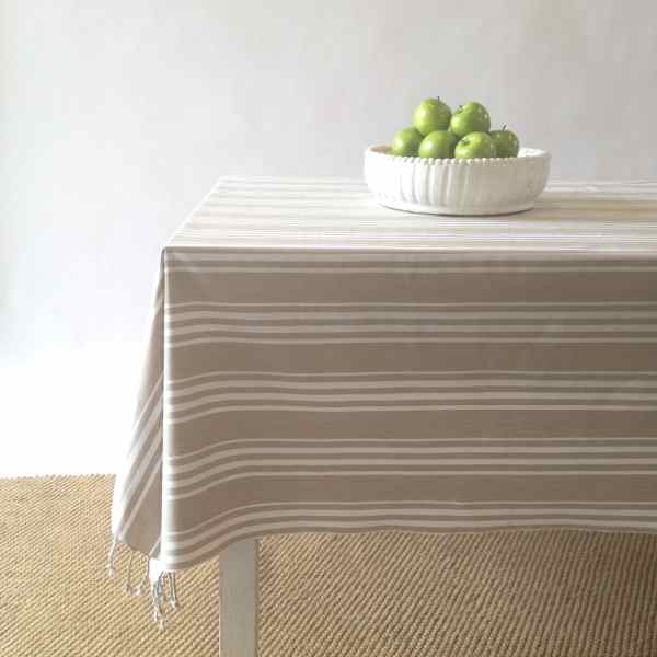 Table cloth stripe - armani beige