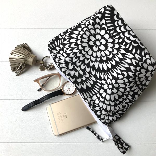 Pencil Case/Pouch Floral Print - Black geo