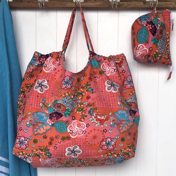 XXL beach Bag -coral retro