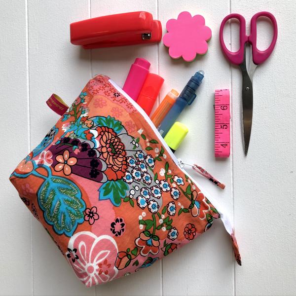 Pencil Case/Pouch Floral Print - Coral Retro