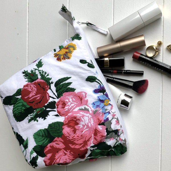 Pencil Case/Pouch Floral Print - white floral