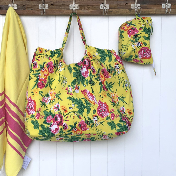 XXL beach Bag -citrus floral