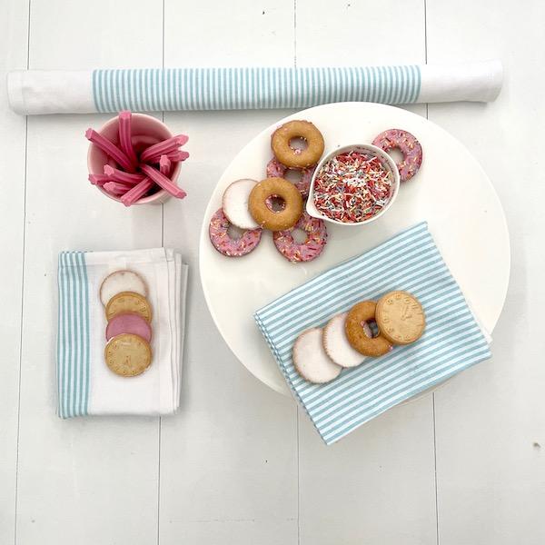 Cotton Tea Towels - Aqua Haze Pinstripe