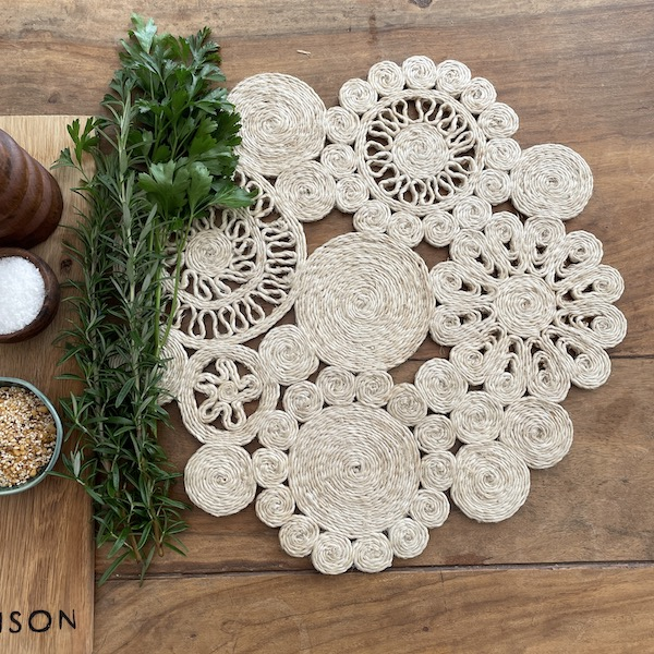 Handmade jute retro placemat 45cm- natural