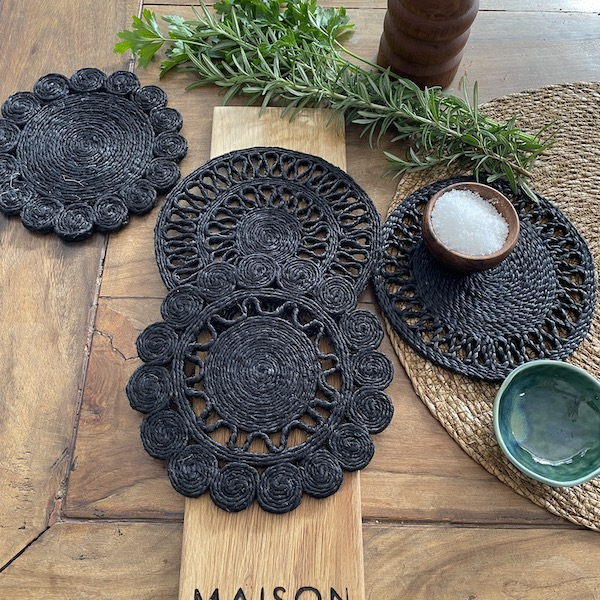 Handmade jute trivet set of 4 - black