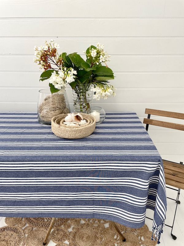 Cotton table cloth - armani blue