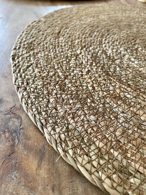 handmade seagrass P/M with cinnamon colour stitch