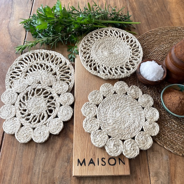 handmade jute trivet set of 4 - natural
