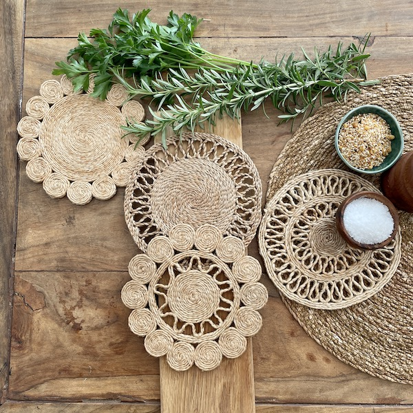 Handmade jute trivet set of 4 - Spice