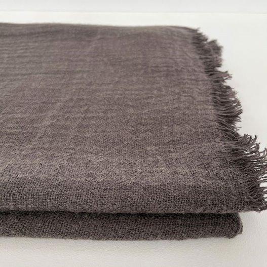 Throw 100% linen - dark grey