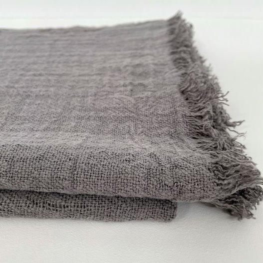 Throw 100% linen - light grey