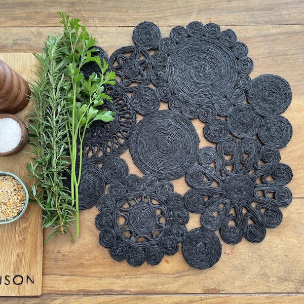 Handmade jute retro placemat 45cm- black