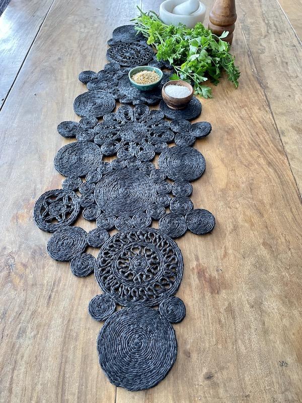 Handmade jute retro table runner - black