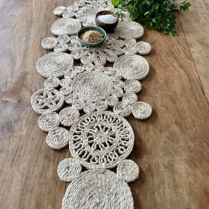 Handmade jute retro table runner - natural