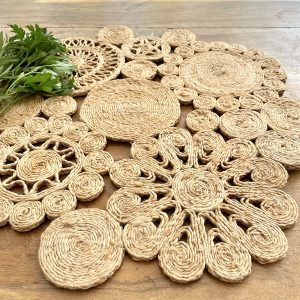 Handmade jute retro placemat 45cm- spice